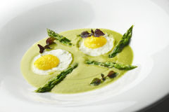 Appetizer Dish of Asparagus Pureed Quail Eggs 1. Appetizer, fine gourmet dish of asparagus and quail eggs Stock Photo