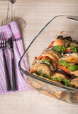 Appetizer with eggplant, cheese mozzarella  and tomato Royalty Free Stock Images
