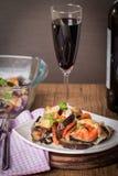 appetizer with eggplant, cheese mozzarella  and tomato Stock Photo