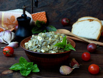 Appetizer of eggplant and eggs flavored with garlic. Vegetable caviar. Royalty Free Stock Image