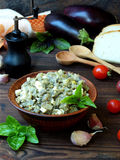 Appetizer of eggplant and eggs flavored with garlic. Vegetable caviar. Stock Image
