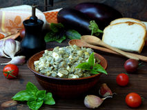Appetizer of eggplant and eggs flavored with garlic. Vegetable caviar. Royalty Free Stock Photos