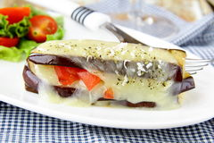 Appetizer eggplant  parmigiana with cheese Royalty Free Stock Images