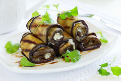 Appetizer of eggplant rolls Stock Photo