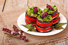 Appetizer of eggplant and tomato with basil Royalty Free Stock Image