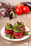 Appetizer of eggplant and tomato with basil Royalty Free Stock Images