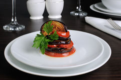 Appetizer eggplant with tomatoes Royalty Free Stock Photography