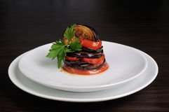 Appetizer eggplant with tomatoes Royalty Free Stock Image