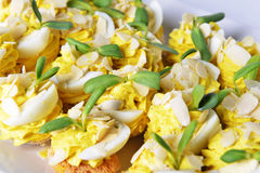Appetizer with eggs Stock Photo
