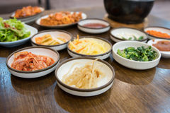 Appetizer food korean stlye on the wood table Royalty Free Stock Photography