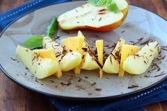 Appetizer of fresh pear cheese and chocolate Stock Photo