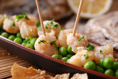 Appetizer of fried shrimp Royalty Free Stock Photography