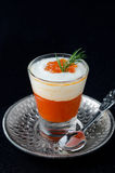 Appetizer in a glass goblet of sweet pepper, cream and red cavia Stock Image