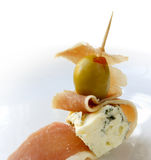 Appetizer with green olive royalty free stock photo