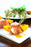 Appetizer with grilled peach Stock Photos