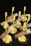 Appetizer with ham and cream cheese Stock Photos
