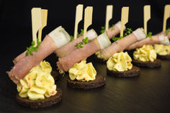 Appetizer with ham and cream cheese Stock Images