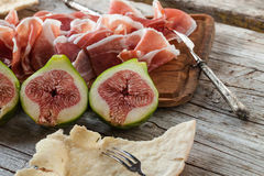 Appetizer With Ham And Figs Royalty Free Stock Photos