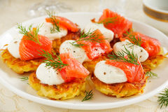 Appetizer of hash browns Royalty Free Stock Photo