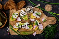 Appetizer of herring anchovy and baked potato. Flat lay. Top view Stock Image