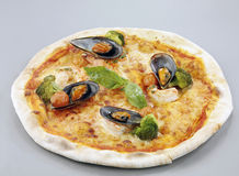 Pizza with mussels Stock Image
