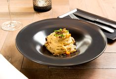 Appetizer of linguine pasta, truffle and clams Royalty Free Stock Images