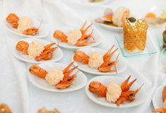 Appetizer made of scampi Royalty Free Stock Photography