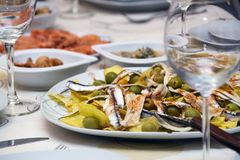 Appetizer of marinated anchovies and olives homemade and delicious. stock photos