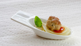 Appetizer meatball spaghetti Stock Photos