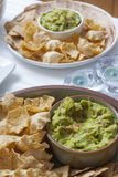 Appetizer Mexican tacos (mais tortillas) with guacamole Stock Photo