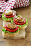 Appetizer mini burgers  tomatoes, lettuce and meat balls Stock Photography