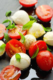Appetizer with mozzarella cheese and cherry tomatoes Royalty Free Stock Image