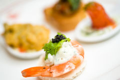 Appetizer Of Shrimp With Caviar Stock Photo