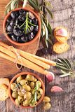 Appetizer, olive and breadstick Royalty Free Stock Image