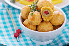 Appetizer Olives baked in cheddar dough Stock Photos