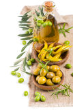 Appetizer of olives  and chili pepper Stock Photography
