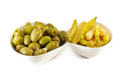Appetizer - Olives Yellow Hot Papers and Baby Corn Royalty Free Stock Photo