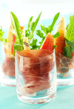 Appetizer with pear,prosciutto,arugula,gorgonzola Royalty Free Stock Photo