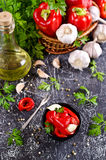 Appetizer of pickled red peppe. R with garlic and parsley. Selective focus Stock Photos