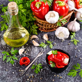 Appetizer of pickled red peppe. R with garlic and parsley. Selective focus Stock Image