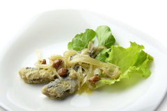 Appetizer Plate of Fish Marinated Anchovies Stock Image