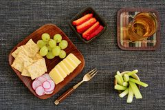 Appetizer plate flat lay Royalty Free Stock Images