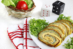 Appetizer plate with vegetable roulade. Appetizer plate with vegetable mix roulade Stock Photos