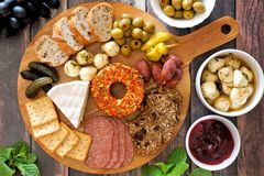 Appetizer platter above scene with a wood background Stock Photos