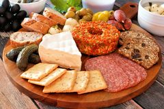 Appetizer platter close up with a wood background Royalty Free Stock Photos