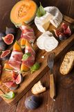 appetizer with prosciutto,melon and cheese Royalty Free Stock Photo