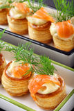 Appetizer puff pastry with dill dip and salmon Royalty Free Stock Photo