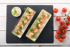 Appetizer puff pastry with dill dip and salmon Royalty Free Stock Photography