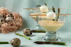 Appetizer With Quail Eggs And Wild Asparagus Royalty Free Stock Images