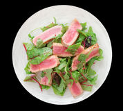 Appetizer with rare fried tuna Royalty Free Stock Images